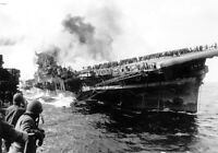 B&W Photo USS Franklin Carrier Damaged US Navy 1945 WWII WW2 World War Two USN