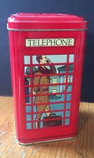 "TELEPHONE BOX TIN Red HORSE GUARD PARADE Toffee 3"" x 3"" x 5.5"" WILSON'S Phone"