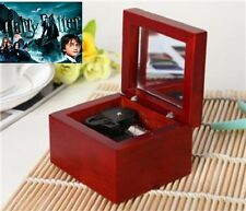 Red Wood Wind Up silver Movement Mirror Music Box : Hedwig's Theme Soundtrack