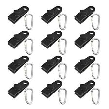 12Pcs Fixed Plastic Clip Reinforcement Clip with 12 Carabiner for Outdoor   X7E4
