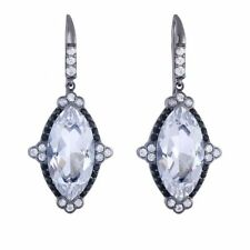 Phillip Gavriel Silver Rock Crystal Quartz And Black And White Sapphire Earring