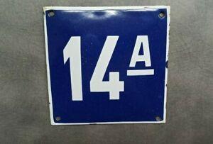 Vintage Enamel Sign Number 14A Blue House Door Street Plate Metal Porcelain Tin