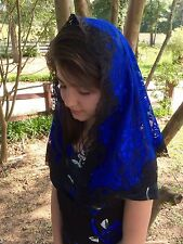 Royal blue Black veil lace mantilla Catholic church chapel scarf headcovering M