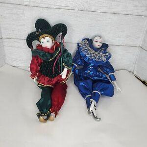 Lot of 2- Heritage Dolls Blue Porcelain Harlequin Clown Musical Jester Green*E1