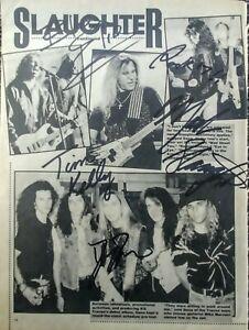 Slaughter hand-signed autographed;Mark Slaughter,Dana Strum,Tim Kelly,Blas Elias