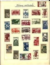 AOF Afrique Occidentale Française collections de 40 timbres sur page album