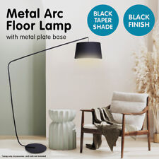 Metal Arc Floor Lamp in Black Finish wih Linen Taper Drum Round Shade Black