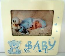 BABY KEEPSAKE PHOTO FRAME WITH 3D BLUE TEDDY BEAR CHRISTENING NEWBORN GIFT BN