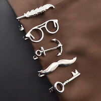 Fashion Men's Metal Feather Archor Mustache Necktie Tie Bar Clasp Clip Pin