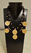 Necklace Purple Czech Glass Doule Strand Brass Middle Eastern Pendants Necklace
