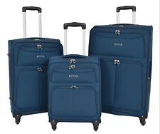 Lightweight Suitcases 4 Wheel Luggage BLUE Soft Case Expandable Travel Bags NEW