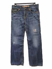 Men's Big Star Pioneer Boot Cut Distressed Cotton Blue Jeans 37x30 Thick Stitch