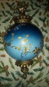 "Large Vintage Rare Blue Mid Century Lamp Swag Pendant Glass 23"" Falkenstein"