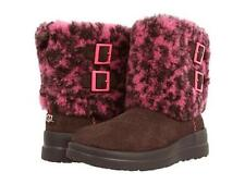 I HEART UGG Two Buckle Down Brown & Pink Suede Wool Lined Boots Wms 5 NWOT DISC
