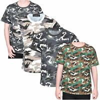 Kids T-shirt Camouflage Army Woodland Camo Military School PE Boys Shirt Top