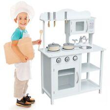 Cucina in legno Giocattolo Bambini con Pentole e Accessori Gioco Bianco 60x30x85