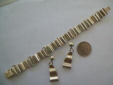 Silver Bracelet Earring Set Vntg Mexican Hallmarked Sterling