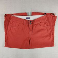 Women's Ibex Organic Pants Capri Size 8 orange red Cotton embroidered So Cute