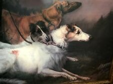 Maud Earl On Leash, The Borzois Dogs Framed Reproduction Print - 29.5 x 22 in