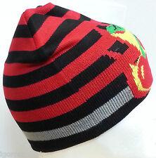 1X New Unisex Knit Ski Knit Slouch Hat Cap Beanie Stripe Black Red UK Post