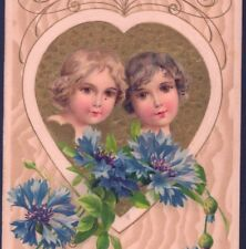 WINSCH...1910 VALENTINE'S DAY CUPIDS,BLUE CORNFLOWERS,GOLD HEART,OLD  POSTCARD