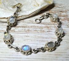 Silber Armband 17 - 18 cm  Mondstein Handarbeit Blau Grün Schimmer Verspielt