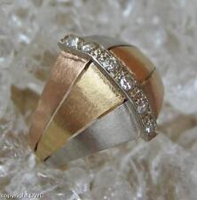 Damen Finger Ring mit Diamant Diamanten Tricolor in 750 Gold