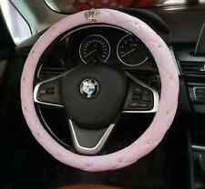 Hot selling Lady pink bling crown leather steering wheel cover 15 inch