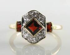 LUSH 9K 9CT GOLD MADAGASCAN GARNET & DIAMOND ART DECO INS RING FREE RS