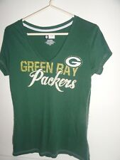 WOMEN'S GREEN GREEN BAY PACKER SHORT SLEEVE WITH GLITTERY LOGO-SIZE LARGE