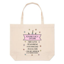 Reasons To Be A Caticorn Large Beach Tote Bag - Funny Shoulder Cat Unicorn
