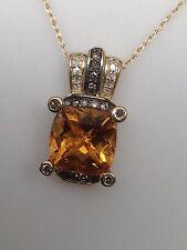 14K Yellow Gold Cushion Cut Citrine White Diamond and Champagne Diamond Pendant