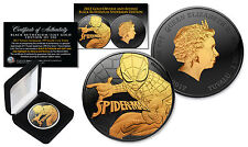 2017 1 oz  Silver Tuvalu SPIDERMAN BU Coin BLACK RUTHENIUM and 24KT GOLD 2-Sided