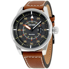 """Citizen Men's AW1361-10H """"Sport"""" Stainless Steel Watch with Brown Leather Band"""