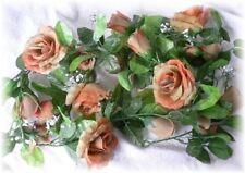 Rose Garland Tan Brown Wedding Arch Gazebo Decor Silk Flowers Centerpieces