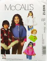 Girls Poncho Sewing Pattern M4912 Size Med Large McCalls 5 Styles