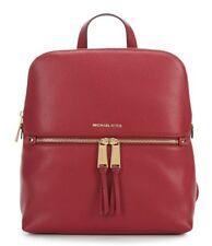 NWT Michael Kors Rhea Zip Medium Slim Leather Backpack Mulberry w/Gold-Tone HDWR