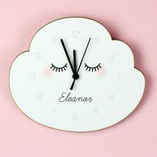 Childrens Personalised Eyelash Cloud Shape Wooden Bedroom Clock - Add Name, Gift