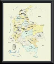 Pablo Escobar Autograph & Colombia Map Reprint On Fine Linen Paper *P129