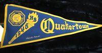 Stunning 1946 Quakertown High School Quakers Pennant - Standard Pennant Co., PA