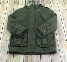 GapKids Coat Boys  Size XS 4/5 Jacket Hooded Army Green Full Zip Pockets