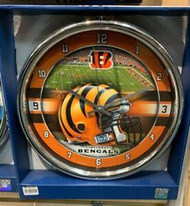 NFL - Cincinnati Bengals- New Chrome Round Wall Clock 12 Inches Diameter, New