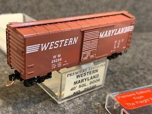 N Scale Premiere Editions Western Maryland 40' Single Door Box Car WM #29299