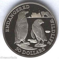 Islas Cook 50 Dolares 1991 plata animales en peligro de extincion @ Pinguino @