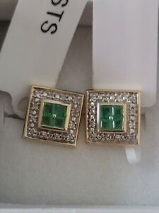 14K Solid Yellow Gold Brazilian Emerald, Diamond Earring(3.75g)0.91 Ctw