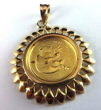RARE 2000 1/20 oz. Gold .999 Fine Panda Coin w/ 14k Yellow Gold Bezel Pendant