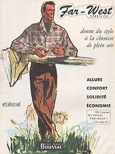 Publicité BOUSSAC FAR WEST Vetement pour Homme  Men's Clothing ad 1954 -2j