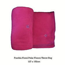Fuschia HOT PINK Floral Embroidery Lilac Polar Fleece Throw Rug 127x152cm