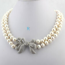 "Freshwater Pearl Necklace Wedding A-46 18-19"" 8-10mm White Aa Heavy Surface"