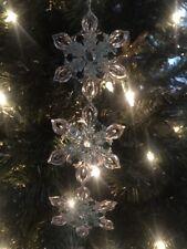 "Pretty New Kurt Adler 7.25"" Icy Blue Snowflake Chain Christmas Ornament-Glitter!"